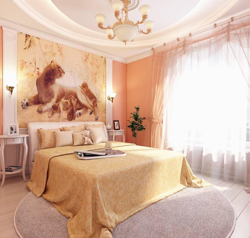 Комната в персиковых тонах фото