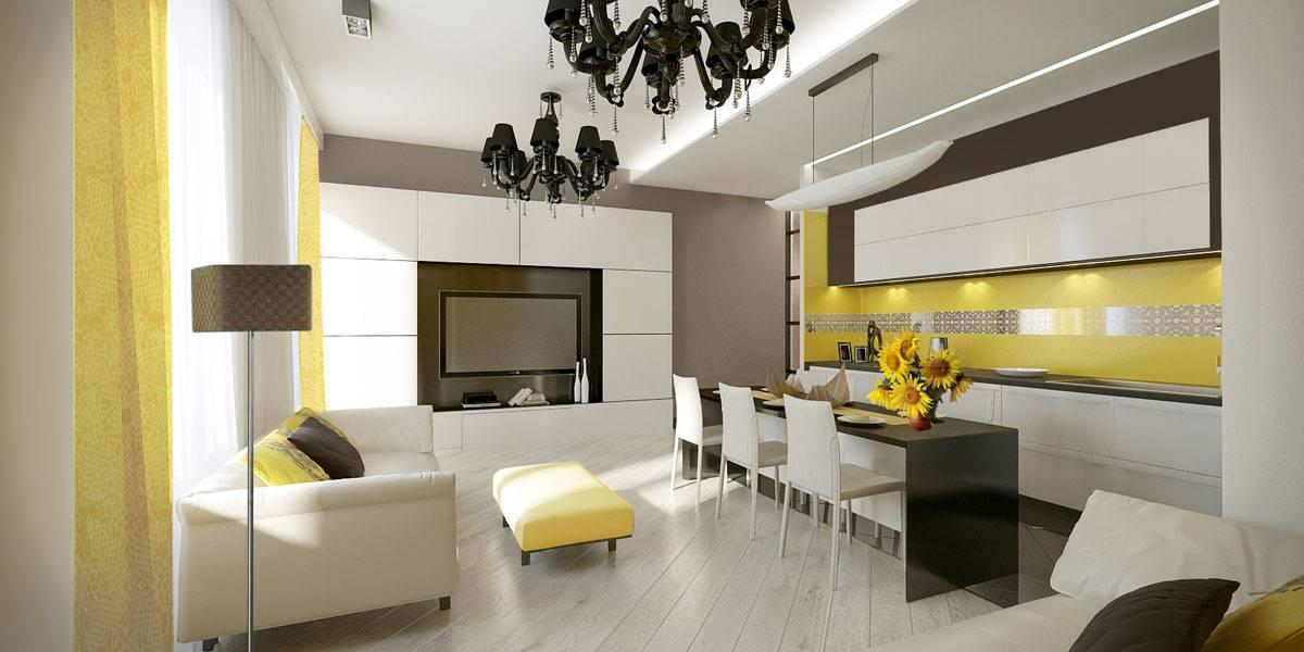 Современный интерьер гостиной кухни фото