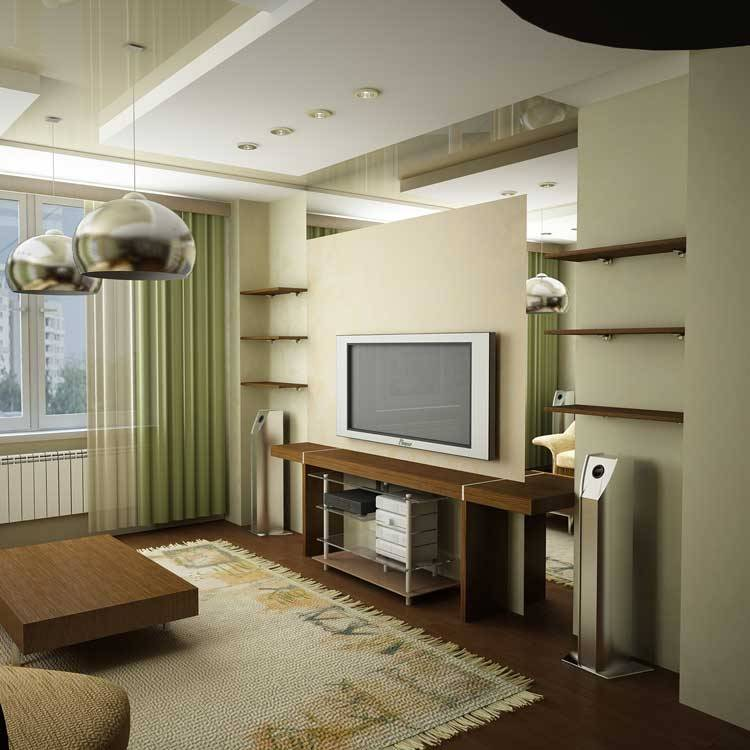 Дизайн гостиной в однокомнатной