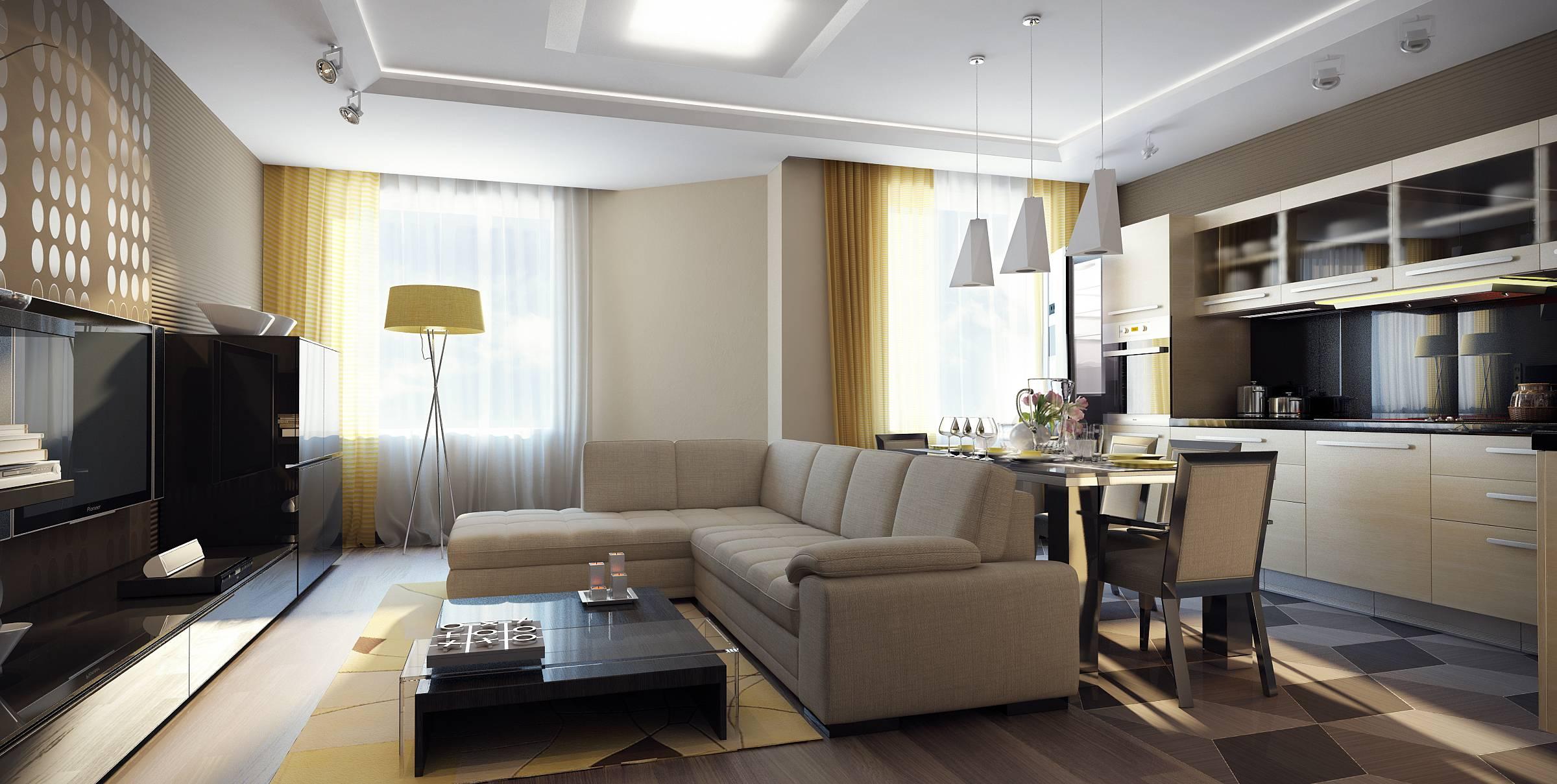 Дизайн студии гостиная кухня