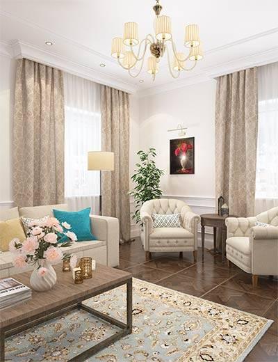 Гостиная стилизованная под классический английский интерьер.