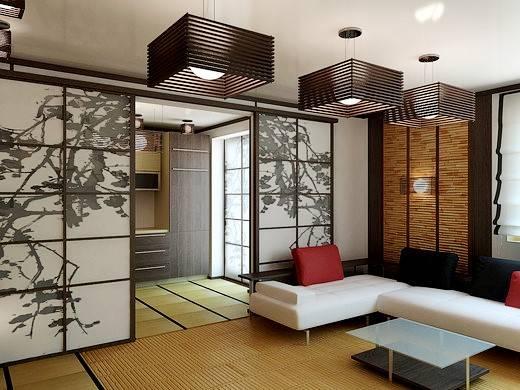 Японские ширмы в квартире-студии 25 кв.м
