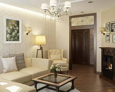 Уютная гостиная стиле Кантри.
