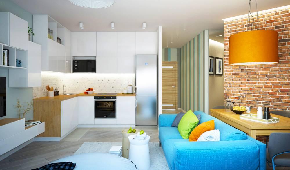 50 квадратов на 2 комнаты: зонирование и дизайн