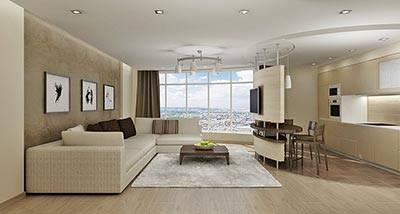 Гостиная в квартире-студии с панорамным остеклением в стиле Минимализм.