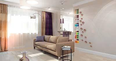 Нейтральная цветовая палитра гостиной с дополнительной палитрой ярких весенних цветовых акцентов.